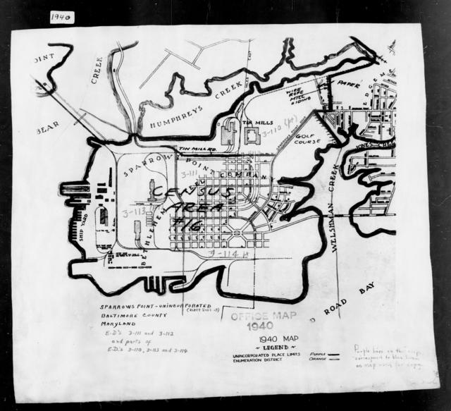 1940 Census Enumeration District Maps - Maryland - Baltimore County - Sparrows Point - ED 3-113, ED 3-114