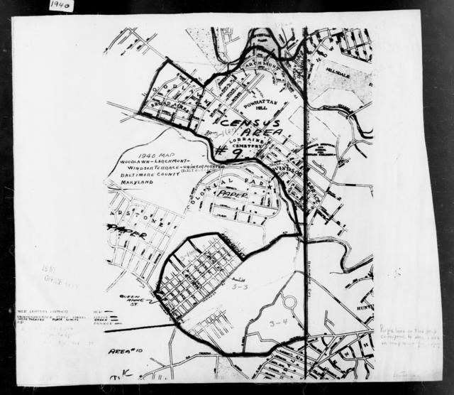 1940 Census Enumeration District Maps - Maryland - Baltimore County - Woodlawn-Larchmont-Windsor Terrace - ED 3-1, ED 3-3, ED 3-4, ED 3-30, ED 3-35