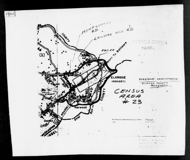 1940 Census Enumeration District Maps - Maryland - Howard County - Elkridge - ED 14-1, ED 14-2