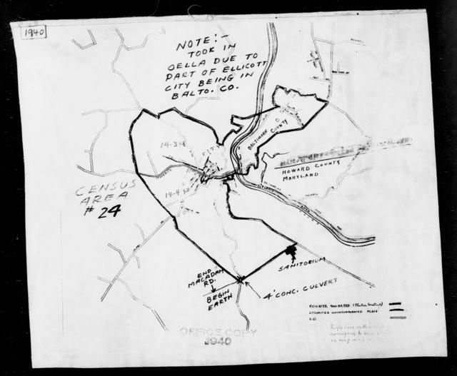 1940 Census Enumeration District Maps - Maryland - Howard County - Ellicott City - ED 14-3, ED 14-4, ED 14-5, ED 14-6