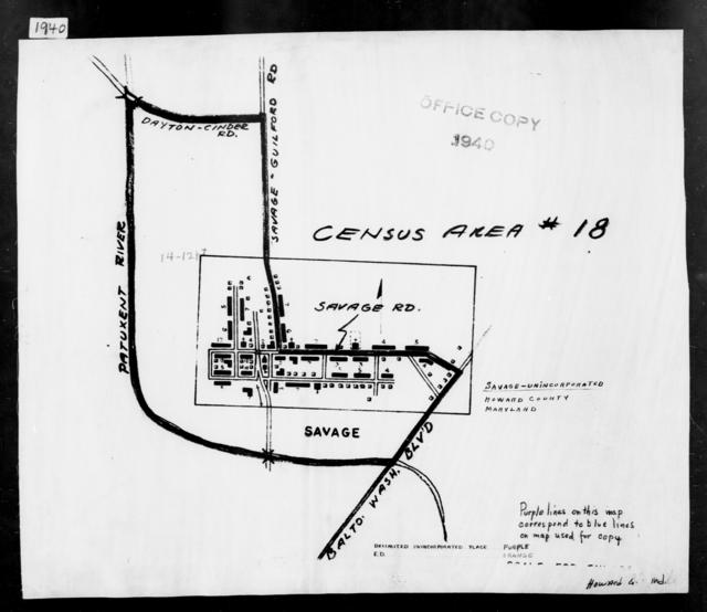 1940 Census Enumeration District Maps - Maryland - Howard County - Savage