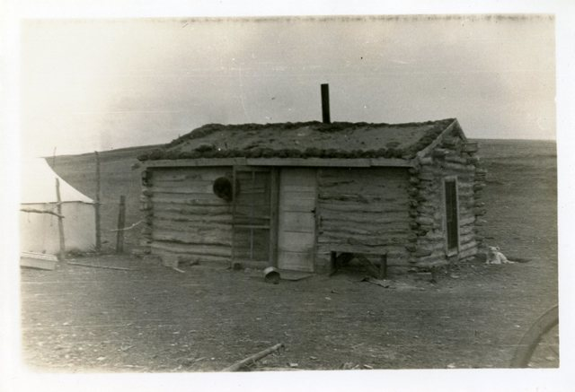 Before Reconstruction of George Big Owl's House, Mission, SD