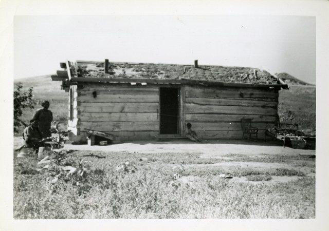 Before Repair of House of Owen Standing Bull (Cut Meat)