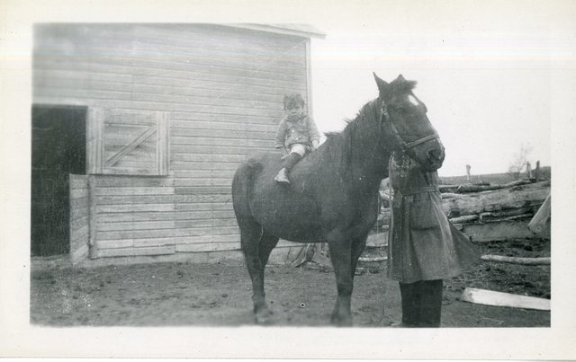 Curely Ducheneux's Other Rehabilitation Mare CM District (Boy on Horse, Barn in Rear)
