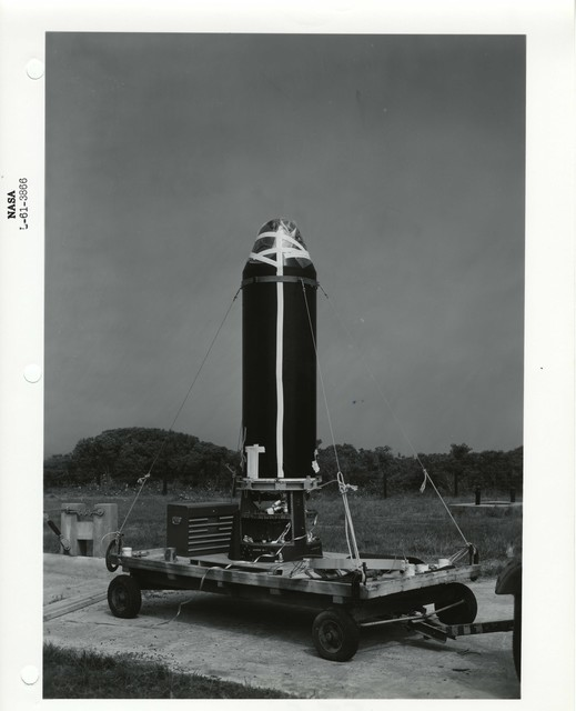 Photograph of a Rocket Part being Transported on a Wagon at the Wallops Island Launch Area in Virginia
