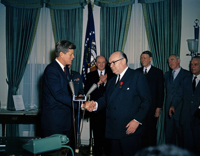 President John F. Kennedy Presents the Medal of Freedom to Secretary General of the North Atlantic Treaty Organization (NATO) Paul-Henri Spaak, Oval Office, White House, Washington, DC