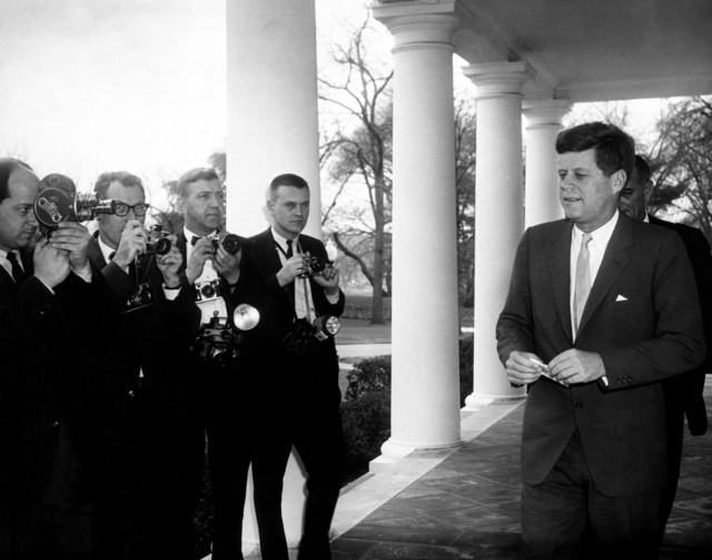 President John F. Kennedy and Vice President Lyndon B. Johnson Walk to Greet Winners of National Science Talent Search
