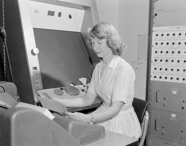 Franckenstein operator, Maggie Morley. analyzes events recorded at the propane bubble chamber, taken April 1961. Morgue 1961-54 (P-5) [Photographer: Donald Cooksey]
