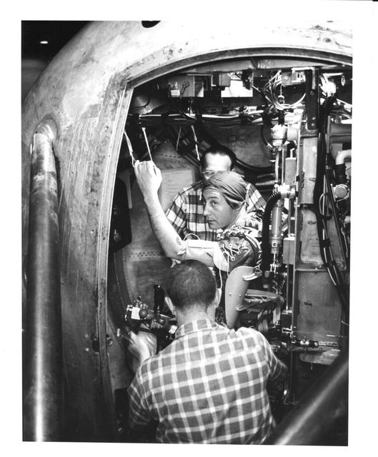Photograph of Astronaut Virgil I. Grissom Preparing for Testing in the Centrifuge