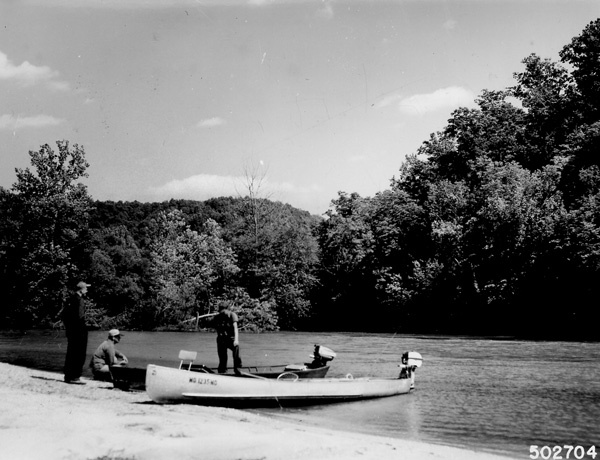 Photograph of Fisherman Pulled up on a Gravel Bar along the Current River