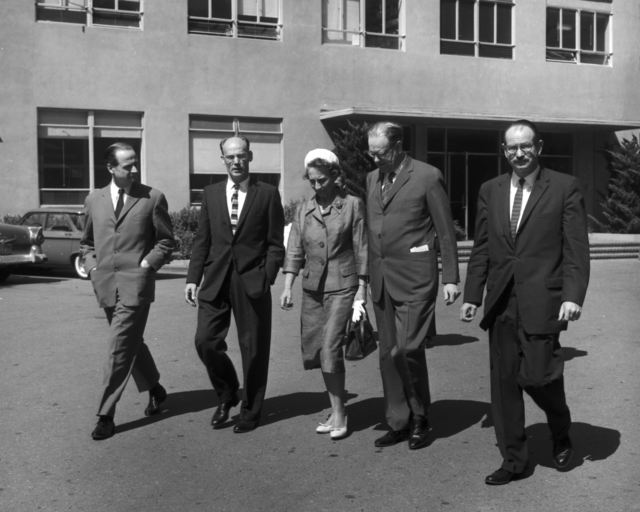Prime Minister of Sweden, Tage Erlander and his wife, Aina Erlander visit the Lab. Ed Lofgren (second from left), and Edwin McMillan (right), taken April 7, 1961. Morgue 1961-2 (P-14) [Photographer: Donald Cooksey]