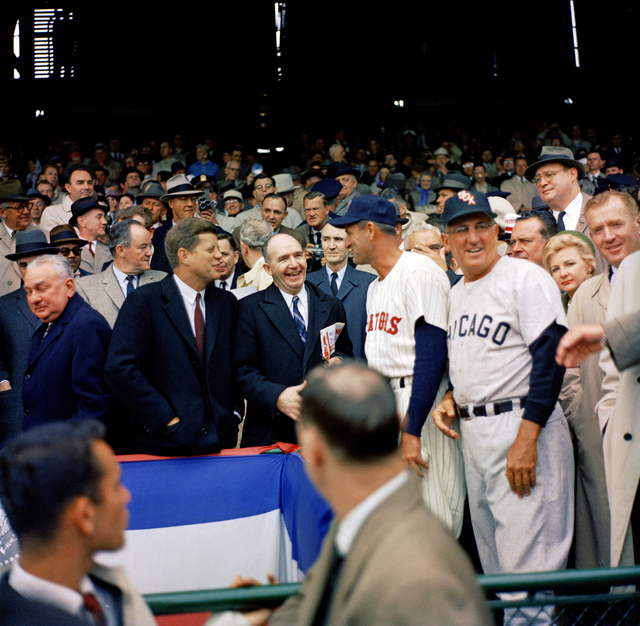 "President John F. Kennedy and Special Assistant to the President Dave Powers Greet Former Washington Senators Player James Barton ""Mickey"" Vernon and Manager of the Chicago White Sox Alfonso Ramon ""Al"" Lopez at the Opening Game of the 1961 Baseball Season at Griffith Stadium, Washington, DC"