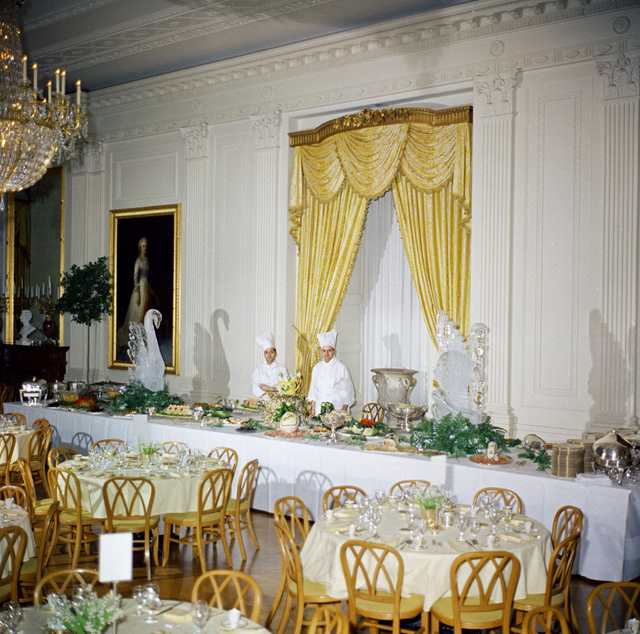 The East Room of the White House in Washington, DC, Set for First Lady Jacqueline Kennedy's Luncheon for Newswomen