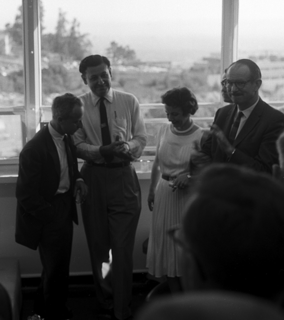 Party at Hilac celebrating the discovery of Element 103, lawrencium. Edwin McMillan, far right and Isadore Perlman, far left. taken April 14, 1961. Morgue 1961-3 (P-16) [Photographer: Donald Cooksey]