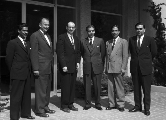 Ambassador and Counsel General of Pakistan on tour of Lab. Cornelius Tobias (second from left) and Edwin McMillan (third from left), taken May 11, 1961. Morgue 1961-6 (P-4) [Photographer: Donald Cooksey]