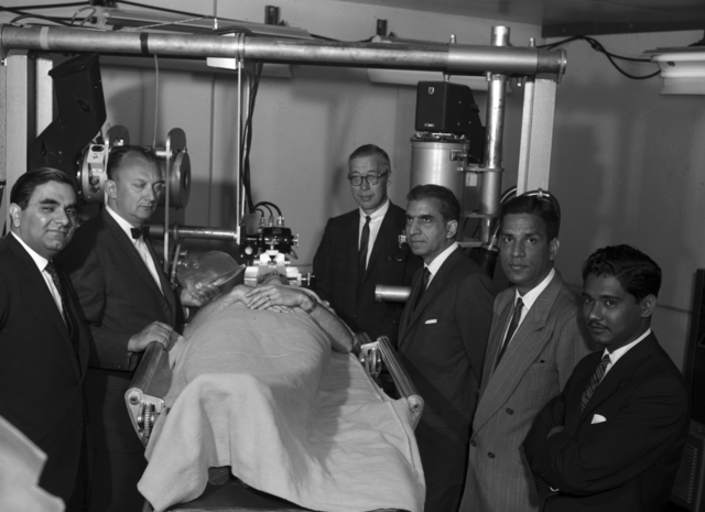 Ambassador (third from right) and Counsel General of Pakistan on tour at Donner with Cornelius Tobias (second from left) and James Born (center), taken May 11, 1961. Morgue 1961-6 (P-1) [Photographer: Donald Cooksey]