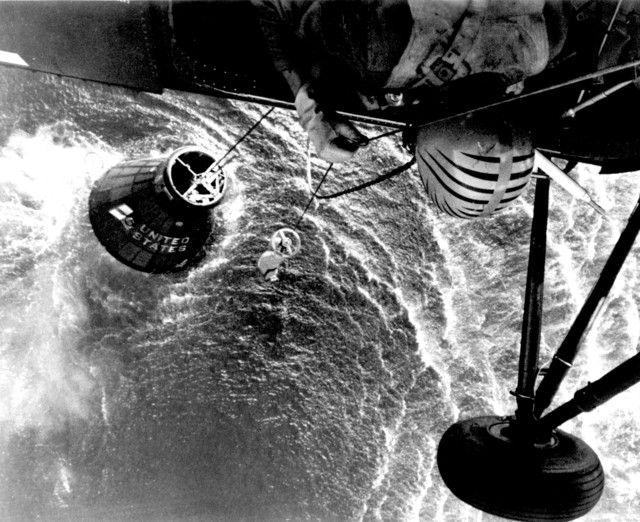 Photograph of a Marine Helicopter Towing the Liberty Bell 7 Spacecraft