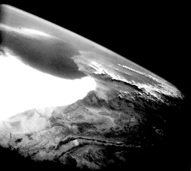 Photograph of the West African Coast from the First Unmanned Mercury Spacecraft
