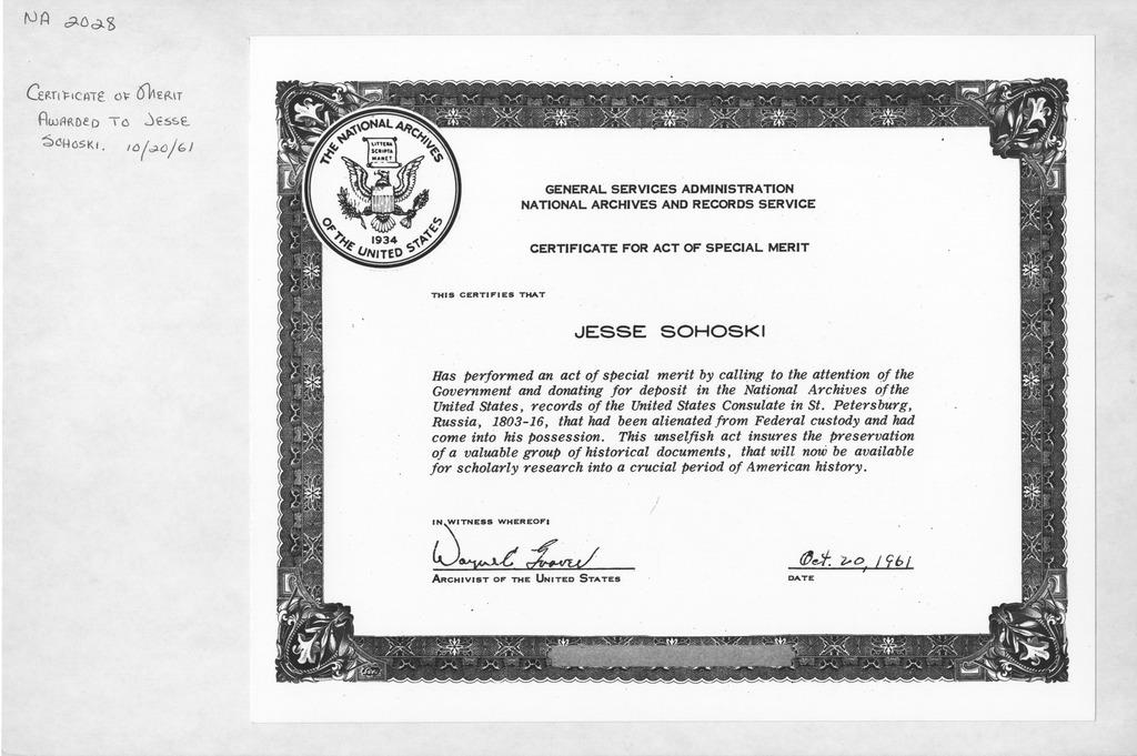 Photograph of Certificate of Merit Award to Jesse Sohoski