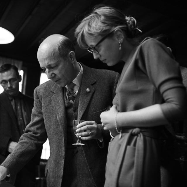 Dr. Melvyn Calvin Nobel Prize winner at reception, taken November 9, 1961. Morgue 1961-23 (P-3) [Photographer: Donald Cooksey]