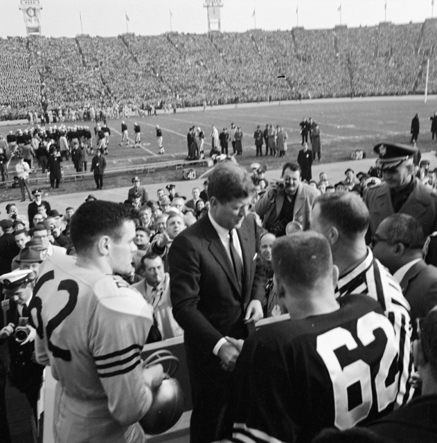 President John F. Kennedy Greets a Referee and Team Captains for the Coin Toss prior to the Army-Navy Football Game