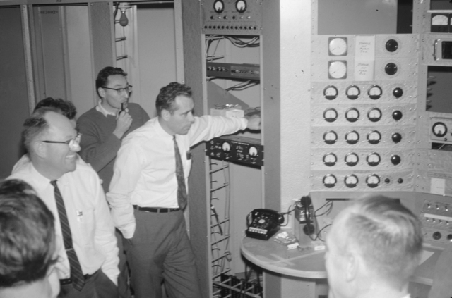 Bob Smith, Hans Willax, and Elmer Kelly during the 88-inch cyclotron's trial run on December 12, 1961. Morgue 1962-69 (P-2) [Photographer: Donald Cooksey]