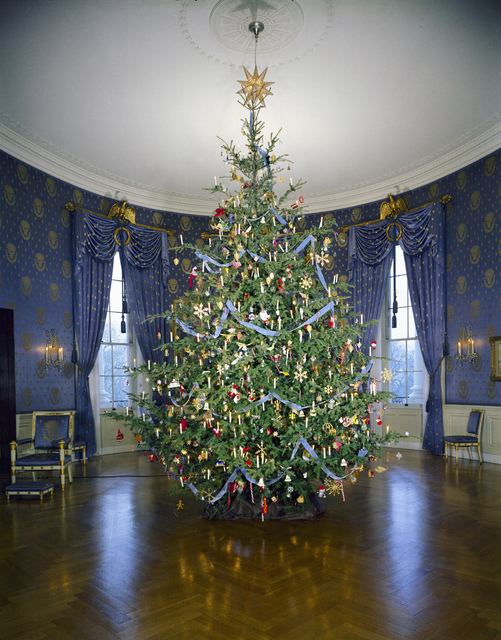 Christmas Tree in the Blue Room of the White House, Washington, DC