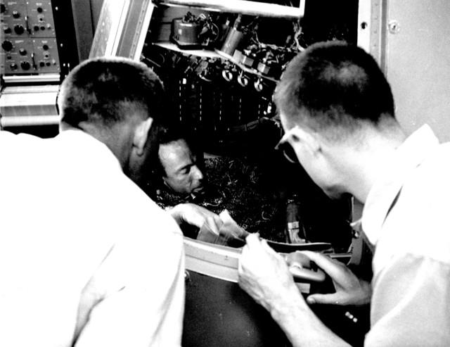 Photograph of Project Mercury Flight Simulation with Astronaut M. Scott Carpenter