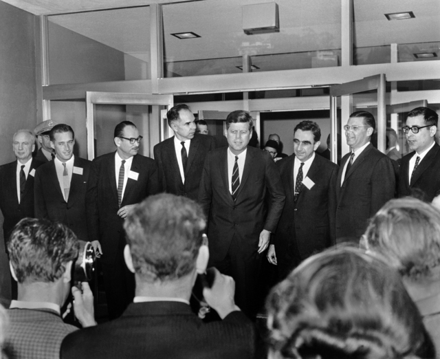 President John F.Kennedy visit to Lawrence Berkeley Laboratory. Left to right: Norris Bradbury (LASL Director), John Foster (LRL Livermore Director), Edwin McMillan (LRL Director), Glenn Seaborg (AEC Chairman),. President Kennedy, Edward Teller (LLL Associate Director), Robert McNamara (Defense Secretary), and Harold Brown (Director of Defense Research and Engineering). Photo taken in 1962. Morgue 1962-68 (P-12) [Photographer: Donald Cooksey]