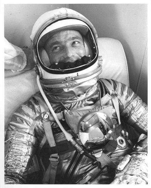 Photograph of Astronaut M. Scott Carpenter Suited Up during Prelaunch Activities