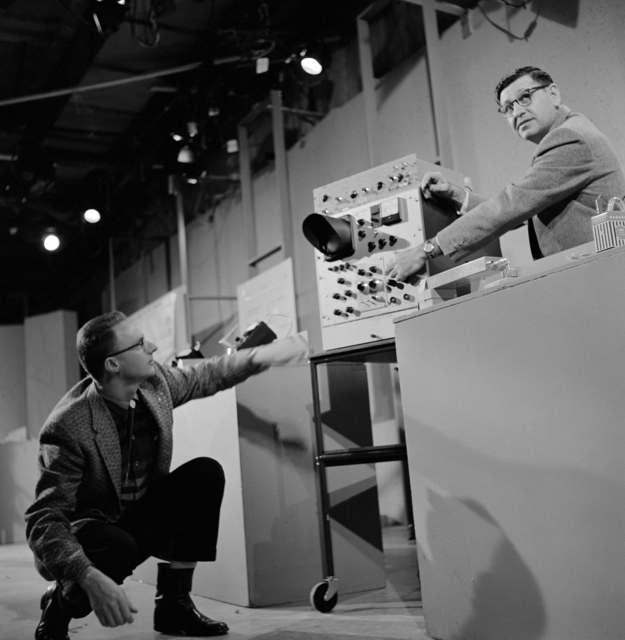 "KRON TV's rehearsal for February 26, ""Science in Action"" show with Lawrence Radiation Laboratory Chemist Albert Ghiorso, right and Bud Larsh. Photo taken 2/26/ 1962. [Photographer: Donald Cooksey]"
