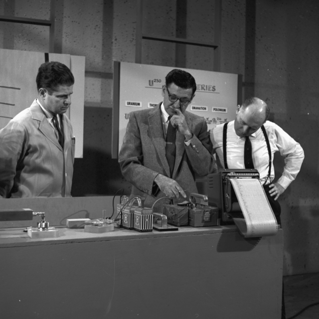 "KRON TV's first rehearsal for February 26 ""Science in Action"" show with Earl Herald, Al Ghiorso, and Director Vern Louden. Photo taken March,1962. Morgue 1962-80 (P-6) [Photographer: Donald Cooksey]"