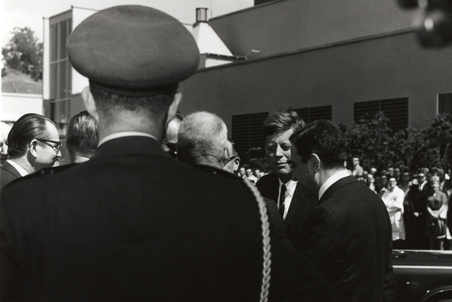 President John F. Kennedy 's visit to Lawrence Radiation Laboratory. President Kennedy with group outside Building 70A including Edward Teller, LRL Associate Director (right) and Edwin McMillan (left), taken March 23, 1962.  Principal Investigator/Project: Analog Conversion Project
