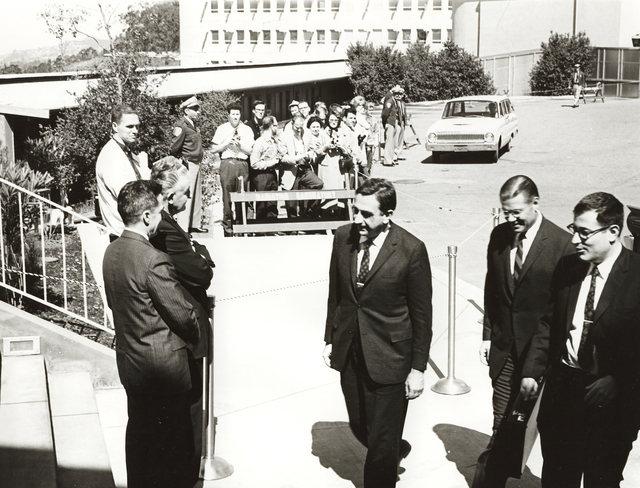 President John F. Kennedy's visit to Lawrence Radiation Laboratory. Edward Teller, Associate Director; Robert McNamara, Defense Secretary; and Harold Brown, Director of Defense Research and Engineering meet Lawrence Radiation Laboratory representatives, taken March 23, 1962. Principal Investigator/Project: Analog Conversion Project