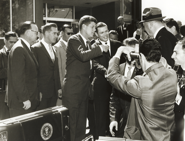 President John F. Kennedy's visit to Lawrence Radiation Laboratory. President Kennedy and Defense Secretary, Robert McNamara greeting personnel outside Building 70A, taken March 23, 1962.  Principal Investigator/Project: Analog Conversion Project