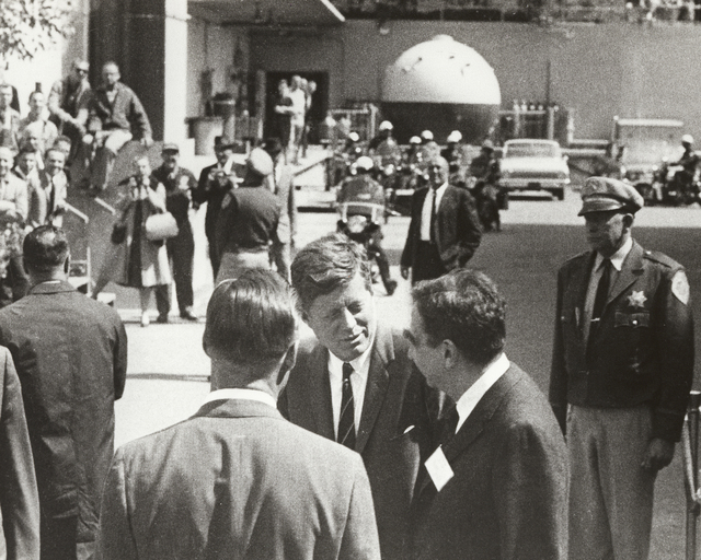 President John F. Kennedy's visit to Lawrence Radiation Laboratory. President Kennedy talking with Associate Director Edward Teller, taken March 23, 1962. Principal Investigator/Project: Analog Conversion Project