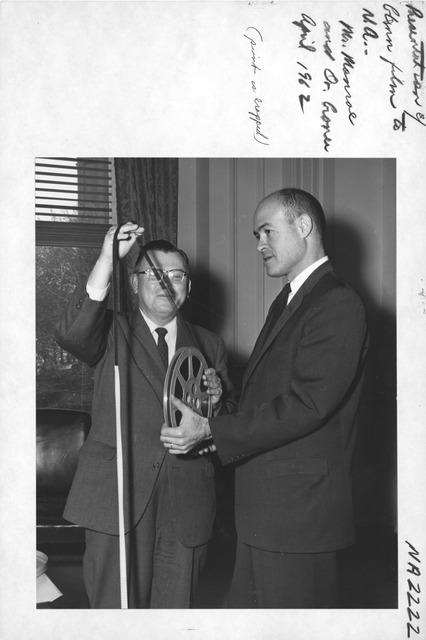 Photograph of Presentation of Film of John Glenn's Orbital Flight from NBC to the National Archives