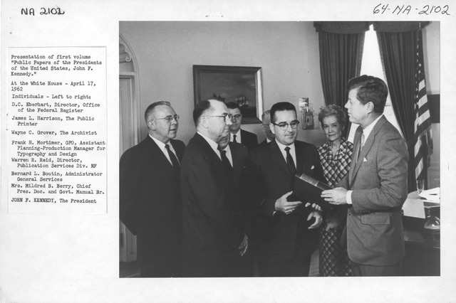 Photograph of the Presentation of the First Volume of Public Papers of the Presidents of the United States, John F. Kennedy at the White House