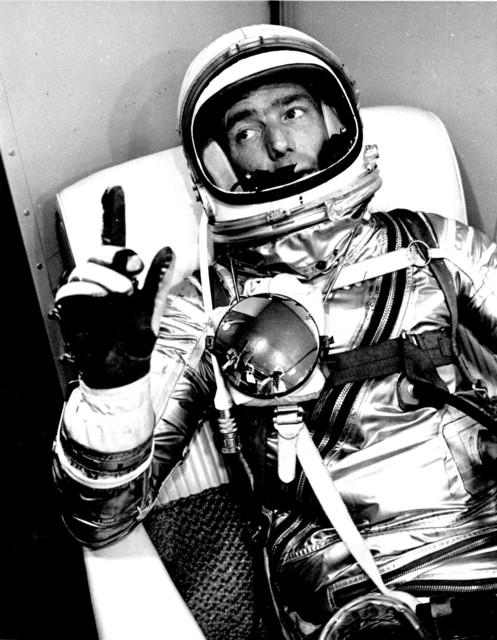 Photograph of Astronaut M. Scott Carpenter in Hangar S Prior to Aurora 7 Launch