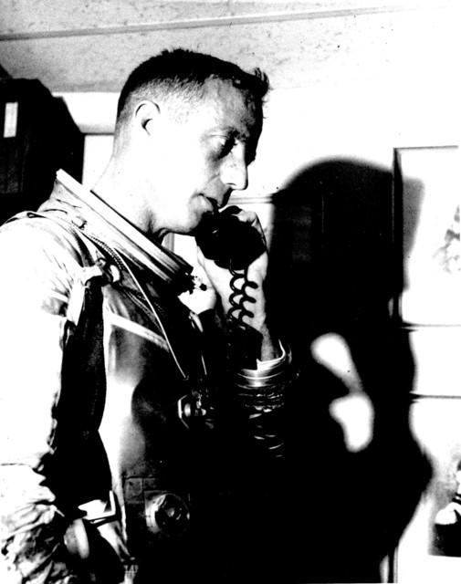 Photograph of Astronaut M. Scott Carpenter on the Telephone with Vice President Lyndon B. Johnson after the Aurora 7 Flight