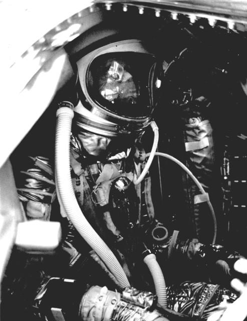 Photograph of Astronaut Malcolm Scott Carpenter Inside Aurora 7 Ready for Liftoff