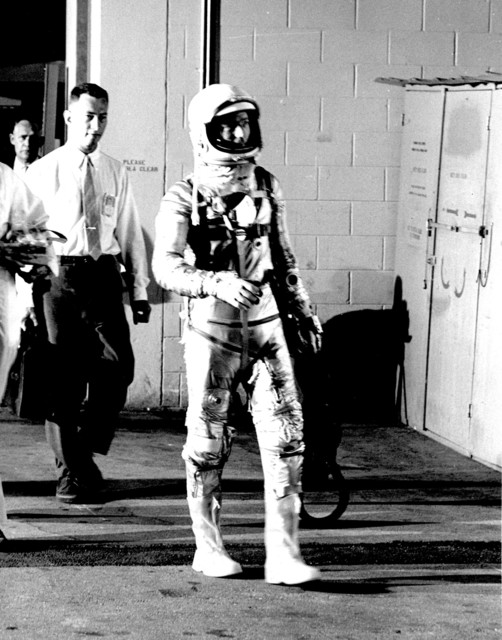 Photograph of Astronaut Malcolm Scott Carpenter Leaving Hangar S Prior to Aurora 7 Launch