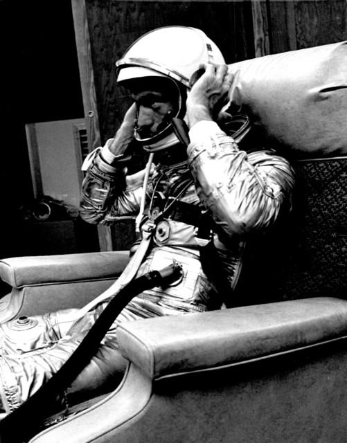 Photograph of Astronaut Malcolm Scott Carpenter Putting on Space Helmet Prior to Aurora 7 Launch