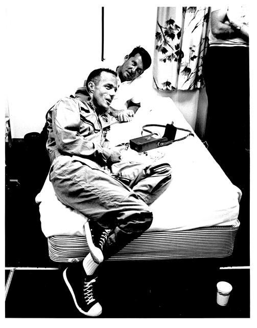 Photograph of Astronaut M. Scott Carpenter Relaxing While Discussing His Aurora 7 Flight