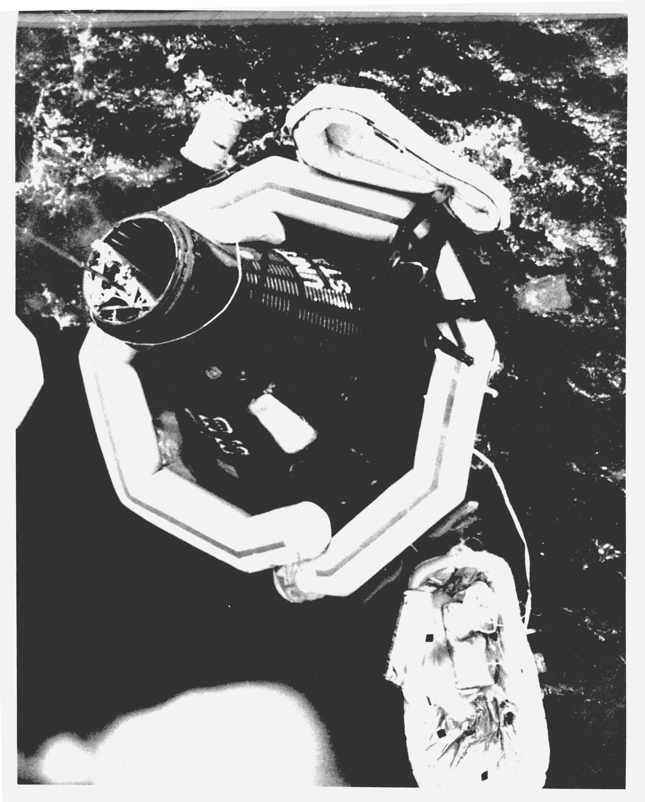 Photograph of Mercury Spacecraft Aurora 7 Floating in the Atlantic during Recovery Operations