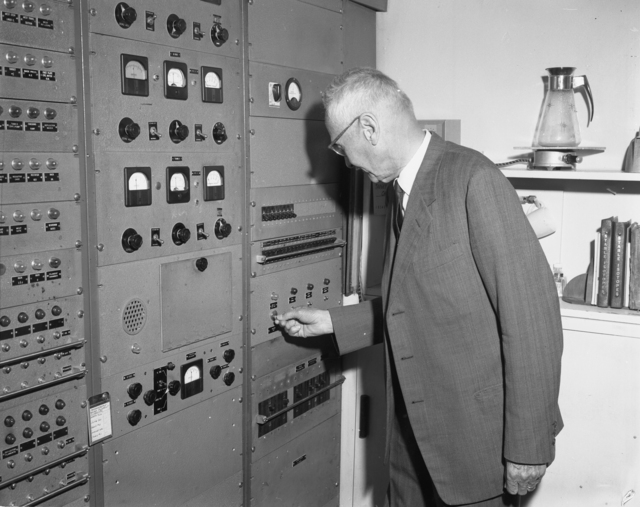 "Shutdown of 60-inch cyclotron. Don Cooksey at control panel. Photo taken 6/22/1962. 60""-620. Principal Investigator/Project: Crocker Lab/ 60-inch"