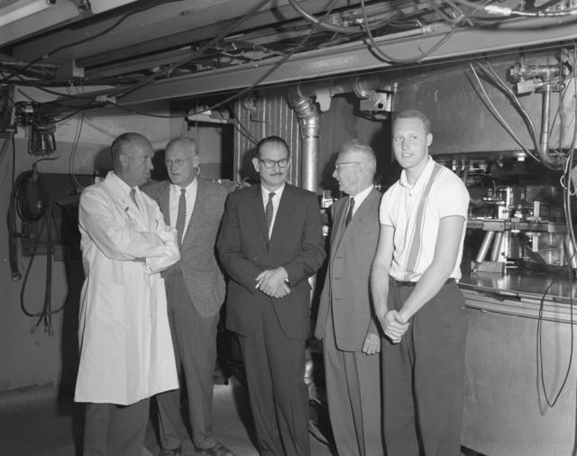 "Shutdown of Crocker's 60-inch cyclotron. Left to right: John Lawrence, Bob Thornton, Ed McMillan, Don Cooksey, and unidentified individual. Photo taken 6/22/1962. 60""-612. Principal Investigator/Project: Crocker Lab/60-inch"