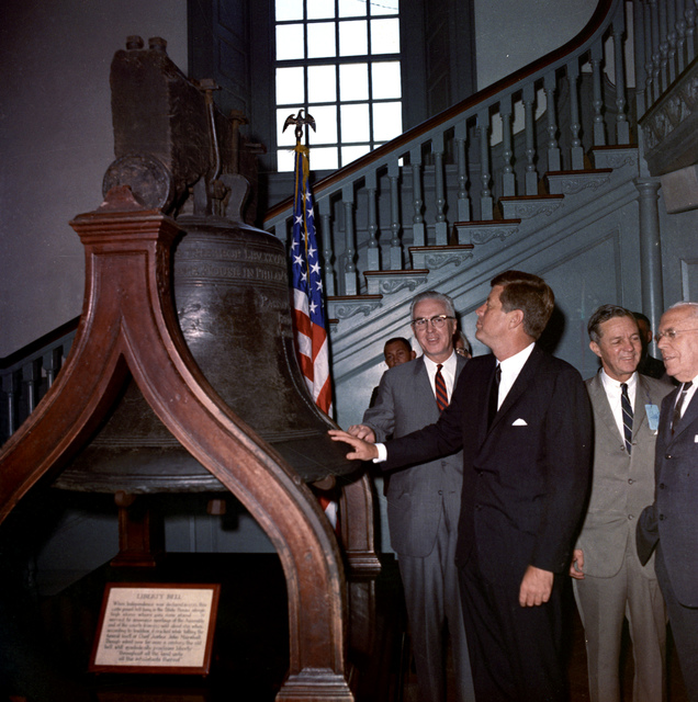 President Kennedy Views the Liberty Bell prior to his Independence Day Address in Philadelphia