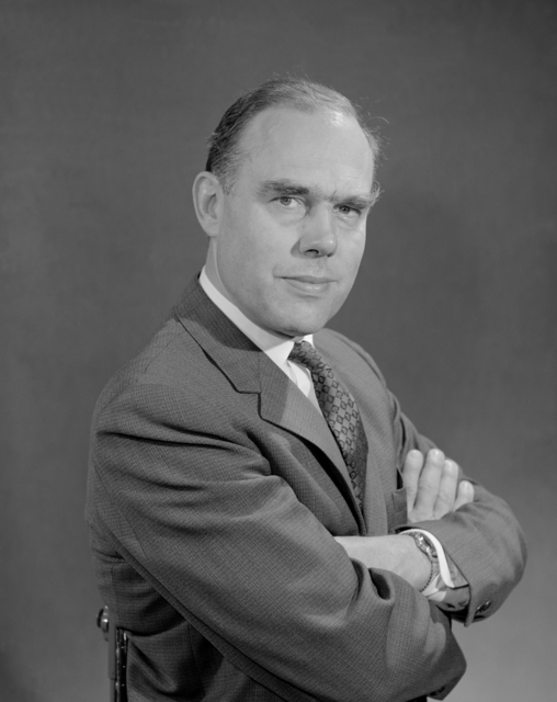 Portrait of Burton J. Moyer, Lawrence Radiation Laboratory senior scientist and physics research group leader, appointed chairman of UC's Physics Department in 1962. Morgue 1962-33 (P-1) [Photographer: Donald Cooksey]