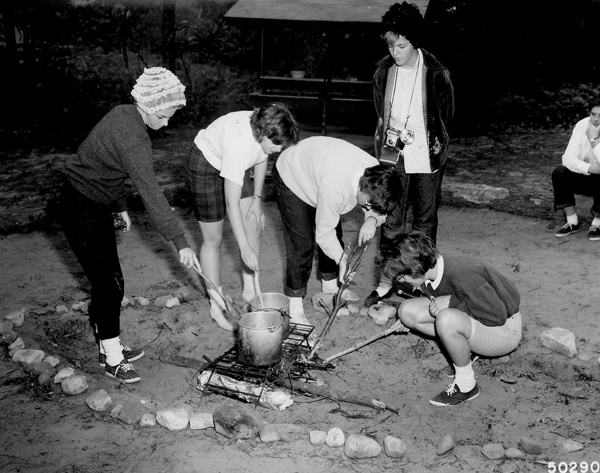 Photograph of Cooking Noonday Meal over Open Fire at Girl Scout Camp Tocanja